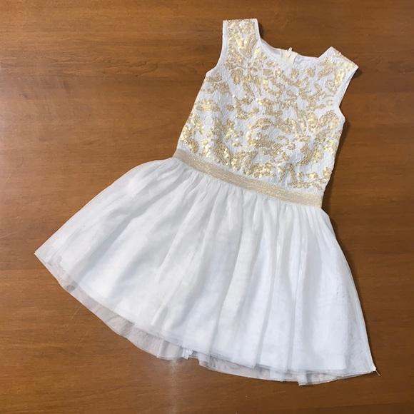 Children's Place White & Gold Formal Dress Sz 6